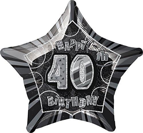 Star Foil Balloon - 40th Black/silver (Star 20 Inch Foil Balloon)