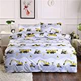 Koongso Digger Bedding Set-Girls Soft Bedding Collection - Cartoon Car Pattern,Hypoallergenic,Microfiber,1 Duvet Cover+2 Pillowcase