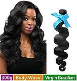 Rechoo Brazilian Virgin Remy Human Hair Extension Weave 3 Bundles 300g - Natural Black,10