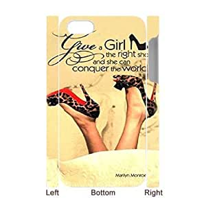 Protection Cover iphone4 4S 3D Cell Phone Case White Marilyn Monroe Quotes Give a Girl the Right Pair of Shoes Fsjtj Durable Rubber Cases