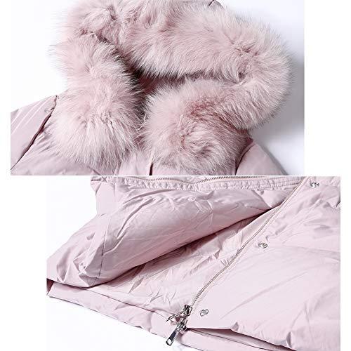 Blanco Para Capucha Abajo Yz hod Grueso Abrigado Relleno Pink Largo Invierno De E Otoño Chaqueta Pato Abrigo Con Mujer 0Twq0R