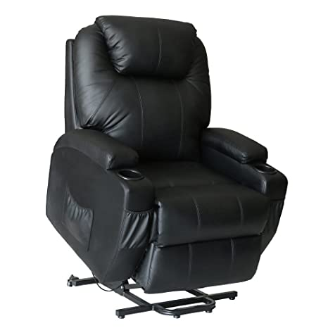 Unionline PU Leather Power Lift Chairs Recliner For Elderly Wall Hugger  Heated Vibration+ Wheels Multi Controls