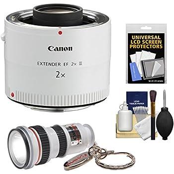 Canon EF 2x Extender III Lens Teleconverter with LED Flashlight + Screen Protectors + Kit
