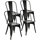 Devoko Tolix Black and Antique Gold Metal Chairs Indoor Outdoor Stackable Dining Chairs Kitchen Modern Style Chairs With Back Set of 4 (black/gold)