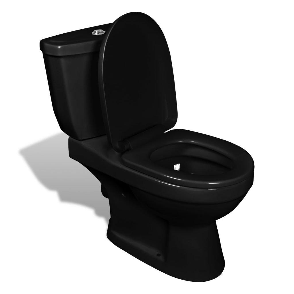 vidaXL Cuvette avec Abattant Moderne et Ré servoir de Chasse Noir WC Toilette