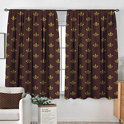 - Elliot Dorothy Sheer Curtains Fleur De Lis,French Inspired Pattern European Culture Abstract Vintage Renaissance,Burgundy Goldenrod,Decor Collection Thermal/Room Darkening Window Curtains 63