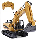 SGILE 15 Channel RC Excavator Toy, 1:14 Full Function Remote Control Construction Vehicle with 2.4Ghz Transmitter and Alloy Shovel, Rechargeable Digger Tractor for Kids