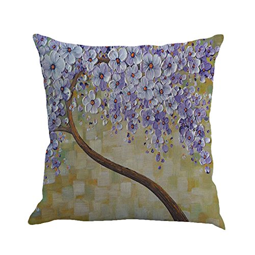 MHB Oil Painting Brown Large Tree and Purple Flower Cotton Linen Throw Pillow Covers 15% Cotton and 85% Polyester Pillowcase 18 x18 Inch (Multicolor) (Throw Green Pillows Purple And)
