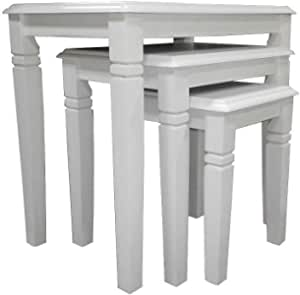 MALAYSIAN SOLID WOODEN NEST OF THREE TABLES SET WHITE COLOR SBF-NT6616