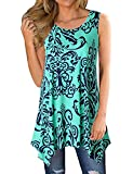 Ezcosplay Women Boho Folk Style Floral Print Sleeveless Asymmetric Hem Tank Tops