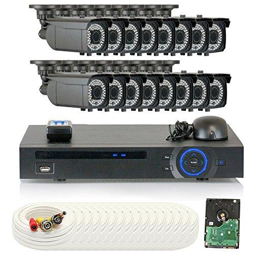 GW Security HD-CVI 16CH DVR 1080P Security Camera System - 16 x 2MP Weatherproof 2.8-12mm Varifocal CVI Cameras, 64-IR LED 180ft Night Vision, Pre-Installed 4TB Hard Drive