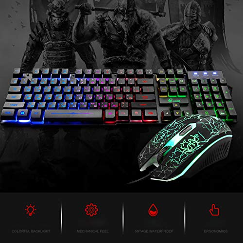 Little Story  Keyboard, T5 Rainbow Backlight USB Ergonomic Gaming English Russian Keyboard and Mouse Set