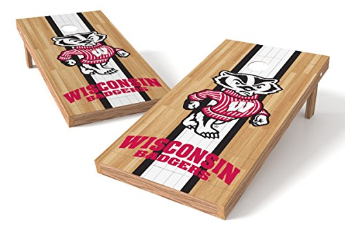 Wild Sports NCAA College Wisconsin Badgers 2' x 4' Hardwood Authentic Cornhole Game -