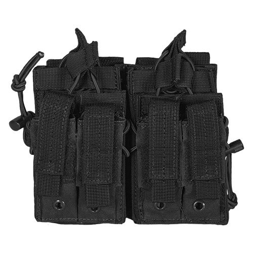 Pouch Pistol Mag Quad (Fox Outdoor Products Tactical Quad Stack, Black)