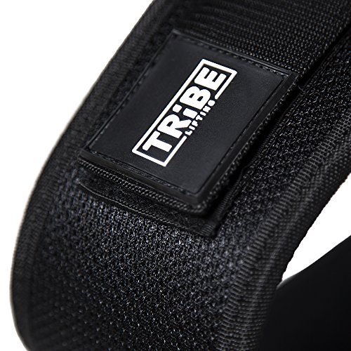 Nylon Weight Lifting Belt for Men and Women + BONUS Drawstring Bag, Black Neoprene with Adjustable Velcro, for Weightlifting, Power Lifting, Crossfit and Lower Back Support