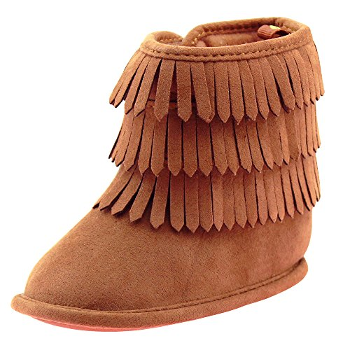 Stepping Stones First Steps Fringe Moccasin Baby Girl Boots Micro Suede Booties Chestnut Brown 2