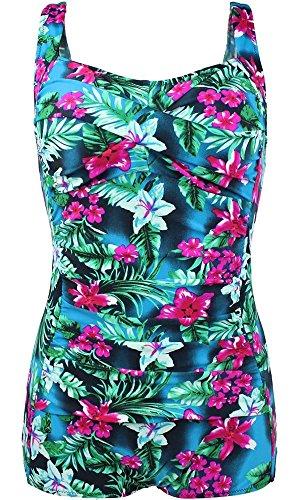 LuDaDa Womens Halter Hawaiian Boho Floral Halter One Piece Boyleg Swimwear Swimsuit