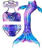 Camlinbo 2018 3 pcs Mermaid Tail Swimsuits Princess Bikini Set for Toddler Big Girls Birthday Gift,3-14 Years (Child XL/9-10, A Aurora Magic)