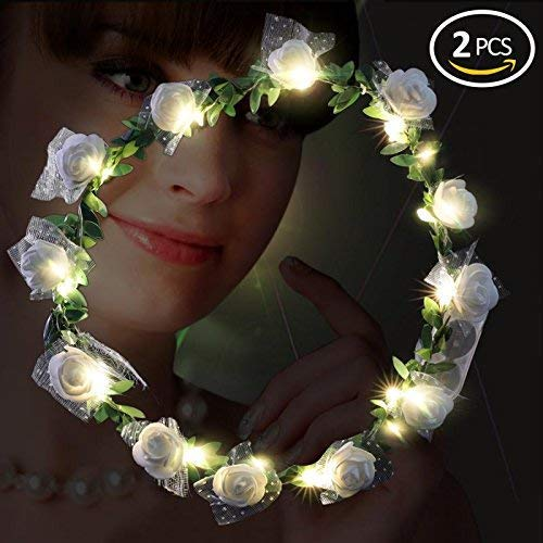 Playbuy LED Flower Garland Wreath Headband -Wedding Wreath Crown Festival Floral for Party Festival Wedding]()