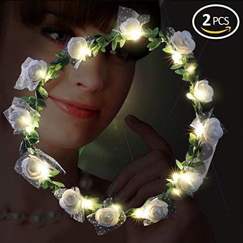 Playbuy LED Flower Garland Wreath Headband -Wedding Wreath Crown Festival Floral for Party Festival Wedding -