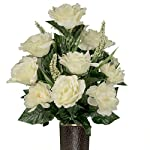 Cream-Rose-and-Lotus-Artificial-Bouquet-featuring-the-Stay-In-The-Vase-Designc-Flower-Holder-SM1816
