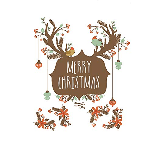 Fablcrew Deer Christmas Window Decoration Wall Stickers Self-Adhesive Cabinet Glass Diagonal Decorative Stickers