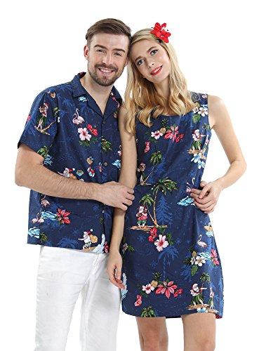 Couple Matching Hawaiian Luau Cruise Christmas Outfit Shirt Dress Santa Navy Men S Women S]()