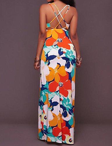 Da Tubino Orange Maxi Donna Floral Vestito Per Uscire Yfltz 6xUEqwzw