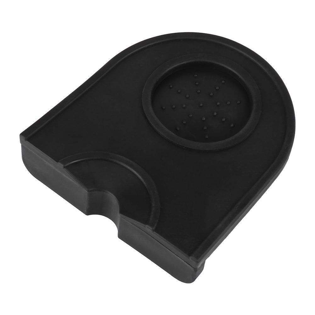 Estera de silicona para caf/é Almohadilla de molienda para caf/é Engrasada y con soporte de sabotaje el/ástico para proteger su encimera Amoladora de caf/é Estera de silicona Negro
