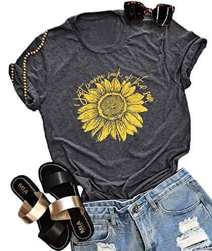 (MOMOER I Just Wanna Soak Up The Sun Sunflower Shirt Women Funny Cute Graphic Tee Teen Girls Cotton Short Sleeve Tshirt Top Grey)