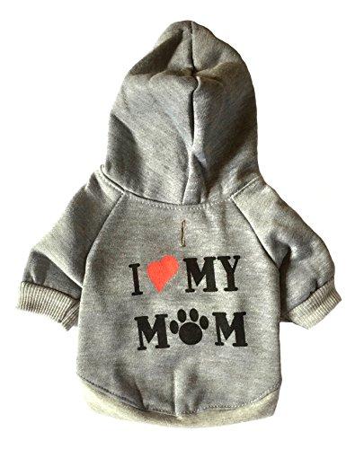 I Love My Mom Dog Hoodies,Rdc Pet Appare Winter Sweatshirt Warm Sweater, Cotton Jacket Coat for Samll Dog & Medium Dog & Cat (L, Grey) (Stegosaurus Dog Costume Size Chart)