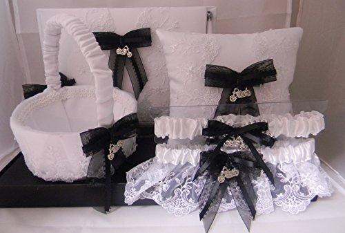 Wedding Reception Motorcycle 6 Psc Set Guest Book Pillow Basket (2) Garters ()