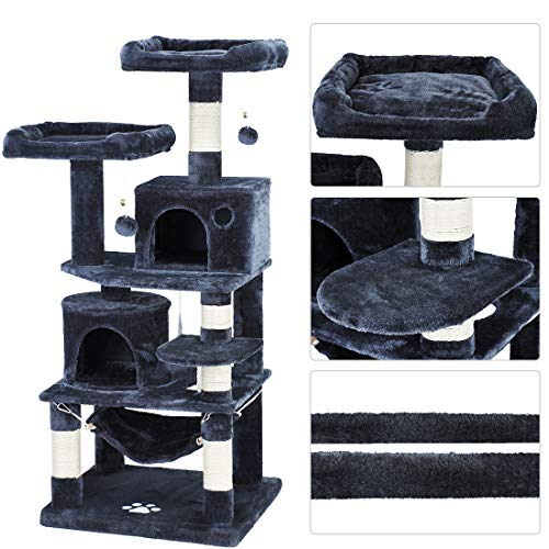 2020 New Cat Tree Condo Tower Kitty Activity Center with Scratching Post 2 Large Beds Perches House