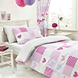 Roll over image to zoom in Textile Warehouse Patchwork Pink Butterfly Hearts Girls Kids Childrens Duvet Quilt Cover Bedding Set Junior Toddler Cot Bed