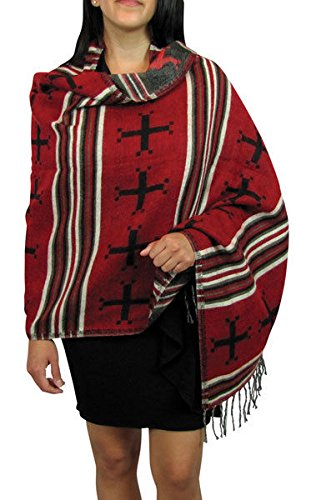"#4211 Woven Shawl Wrap Very Soft Wool Accessory Reversible Artisan Scarf Cape from ""Handmade"""