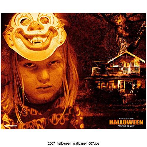Daeg Faerch 8 inch x 10 inch Photograph Halloween (2007) Head Shot w/Clown Mask Pushed Up Title in Lower Right Corner kn]()
