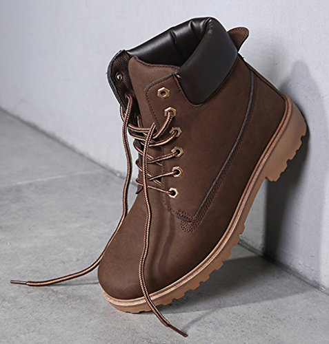DADAWEN Women's Lace Up Low Heel Work Combat Boots Waterproof Ankle Bootie Brown US Size 11 by DADAWEN (Image #5)