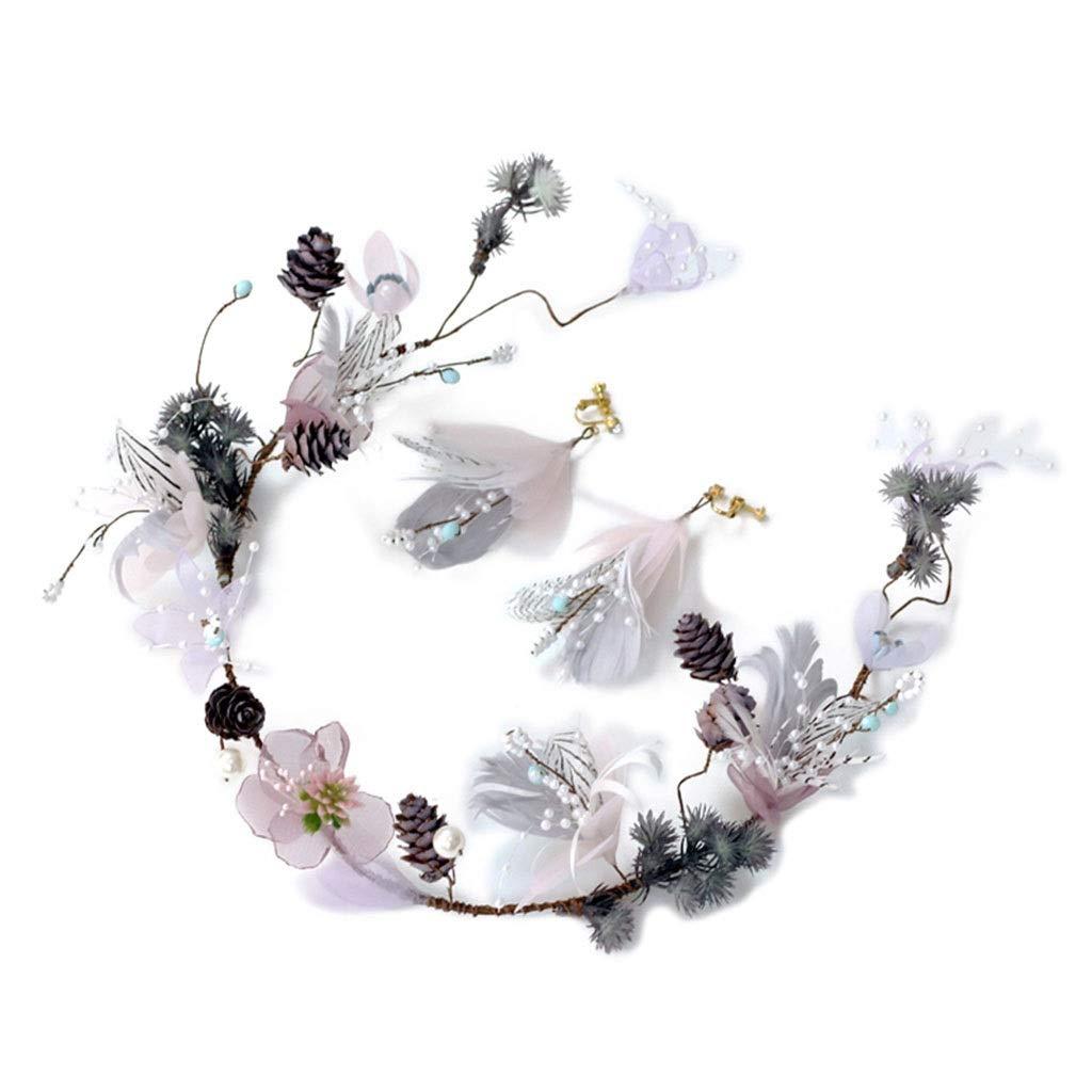 Wreath Flower Bride Headdress Mori Studio Photo Jewelry Flower Headband Earrings Set