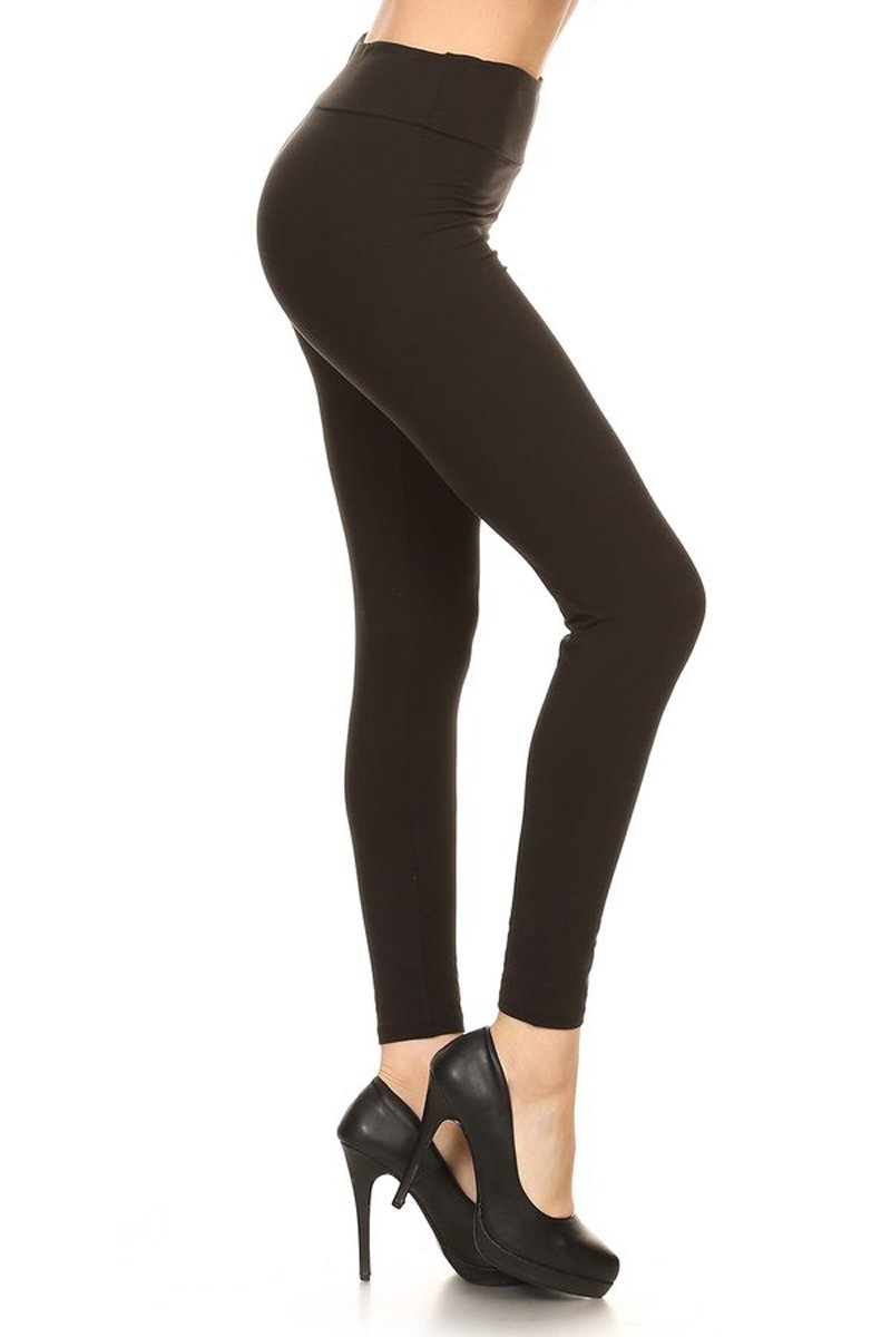 Leggings Depot Yoga Waist REG/Plus Women's Buttery Soft Solid Leggings 16+Colors (Plus Size (Size 12-24), Black)