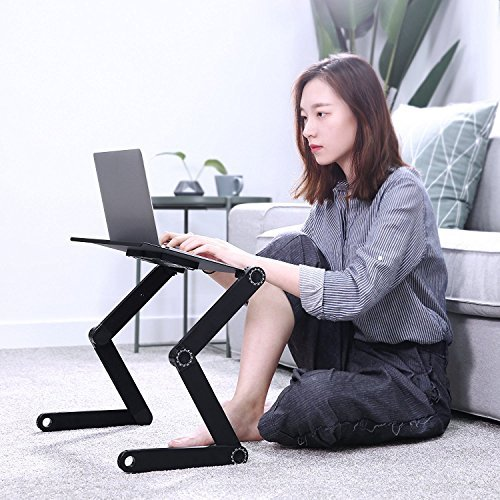 Protable Laptop Desk for Bed and Sofa - Laptop Stand - Adjustable Tabletop - Cozy Desk - Laptop Stand Table pad with 2 CPU Cooling Fans for Notebook - MacBook - IPA - Ergonomics 360 Degree Adjustable Legs
