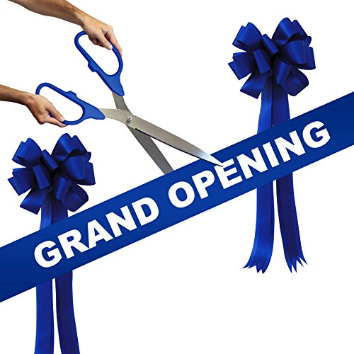 Grand Opening Kit - 25'' Blue/Silver Ceremonial Ribbon Cutting Scissors with 5 Yards of 6'' Royal Blue Grand Opening Ribbon and 2 Royal Blue Bows by Engraving, Awards & Gifts