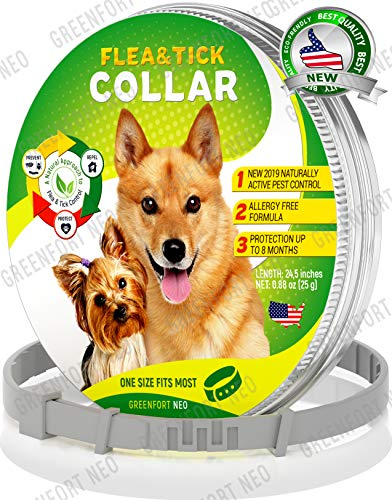 GreenfortNeo bio Pest Control Collar: Hypoallergenic Waterproof Protection Long Lasting Flea and Tick Prevention Fully Adjustable one Size fits All!