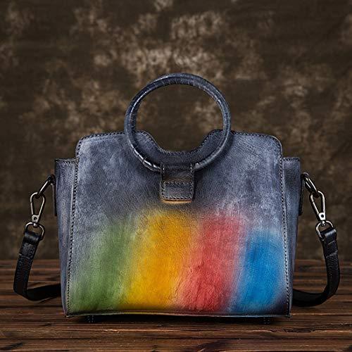 tracolla borse a mano Ploekgda Borse blu a Multicolore a PU colore in pelle donna Borse tracolla intrecciata PCwqRRv