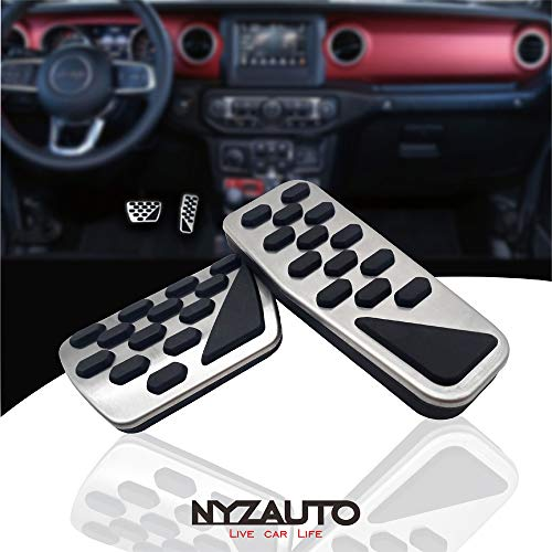 2019 Accelerator Pedal - NYZAUTO Non-Slip Foot Pedal Pads for 2018 2019 Jeep Wrangler JL,Auto No Drilling Aluminum Brake and Accelerator Pedal Covers