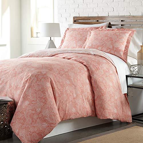Hemau Premium New Soft Southshore Fine Linens - Perfect Paisley Collection - Boho Style Comforter Sets, 2 Piece Set, Twin/Twin XL, Coral Haze | Style -