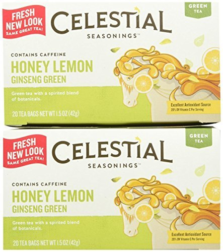 Kosher Ginseng - Celestial Seasonings Honey Lemon Ginseng Green Tea Bags, 20 ct, 2 pk