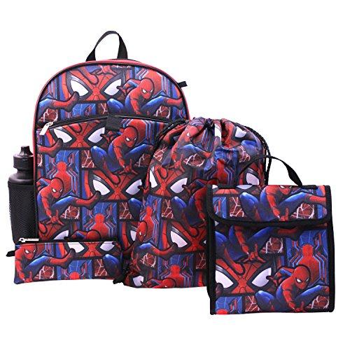Marvel Boys' Spiderman 5 Pc Set Backpack, Blue, One Size (Spider Man Drawstring)