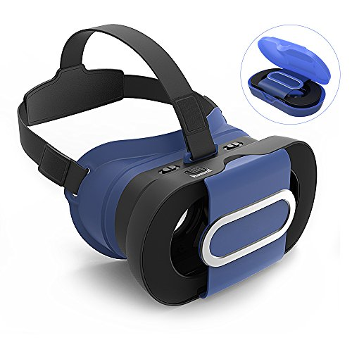 ARCHEER 3D VR Headset Foldable Virtual Reality 3D Glasses Lightweight Portable Video Movie Game VR Box with Protective Case Compatible for iPhone 7/6s Samsung and Other 4-6 Inch Smartphones Blue