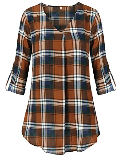 SUNGLORY Cuffed Sleeve Blouse Tops,Trendy 3 4 Sleeve Plaid Tops for Women Brown XL (Shirt Top Autumn Brown)