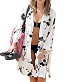 Jeasona Women's Bathing Suits Cover Up Beach Bikini Swimsuit Swimwear Cardigan, White Cotton, M